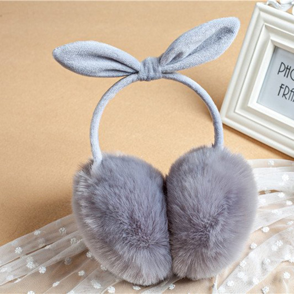 mgjyjy Girl/'s Earmuffs,Soft Faux Fur Winter Warm Foldable With Bow Cute Style 7 Color For Kids