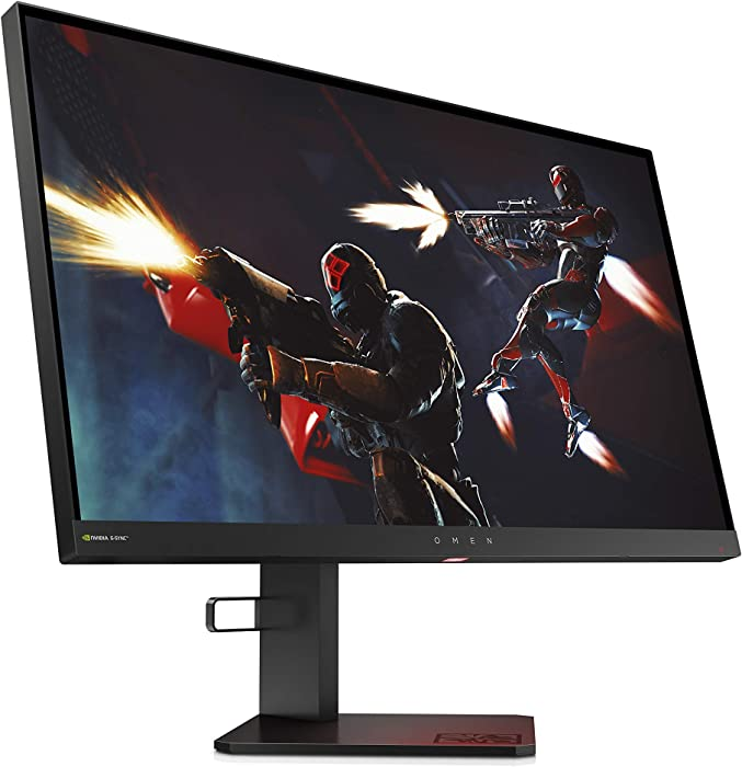 Omen X 25 Gaming Monitor with NVIDIA G-Sync and 240Hz 1ms, Full HD 1920 X 1080P, Ambient Lighting, Adjustable Height, Tilt, Cable Management, Headset Rest, (4NK94AA)