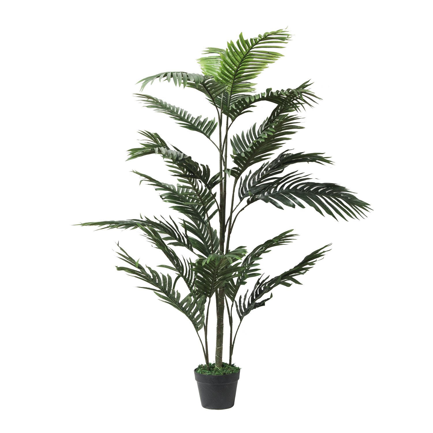 RUOPEI 4.5ft ,Set of 2 Artificial Palm Tree in Plastic Pot, Potted Fake Greenery Decoration with Bendable Branches for Home, Restaurant, Cafe or Office Decorating