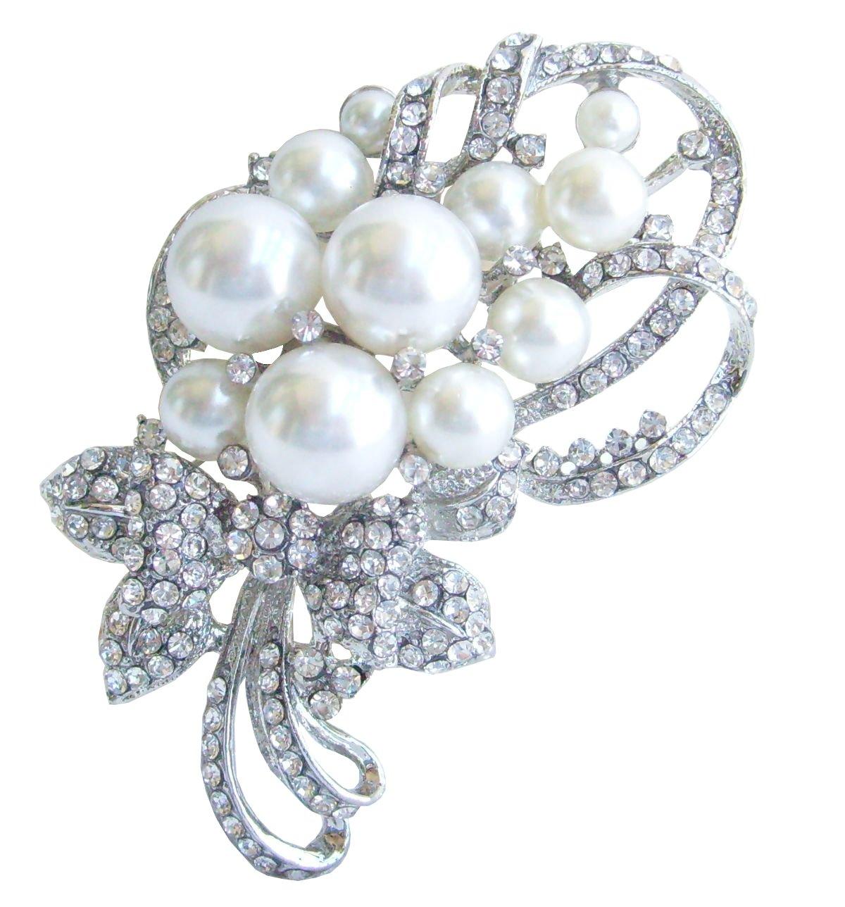 Sindary Wedding 2.76 Inch Silver-tone Pearl Rhinestone Crystal Flower Brooch Pendant