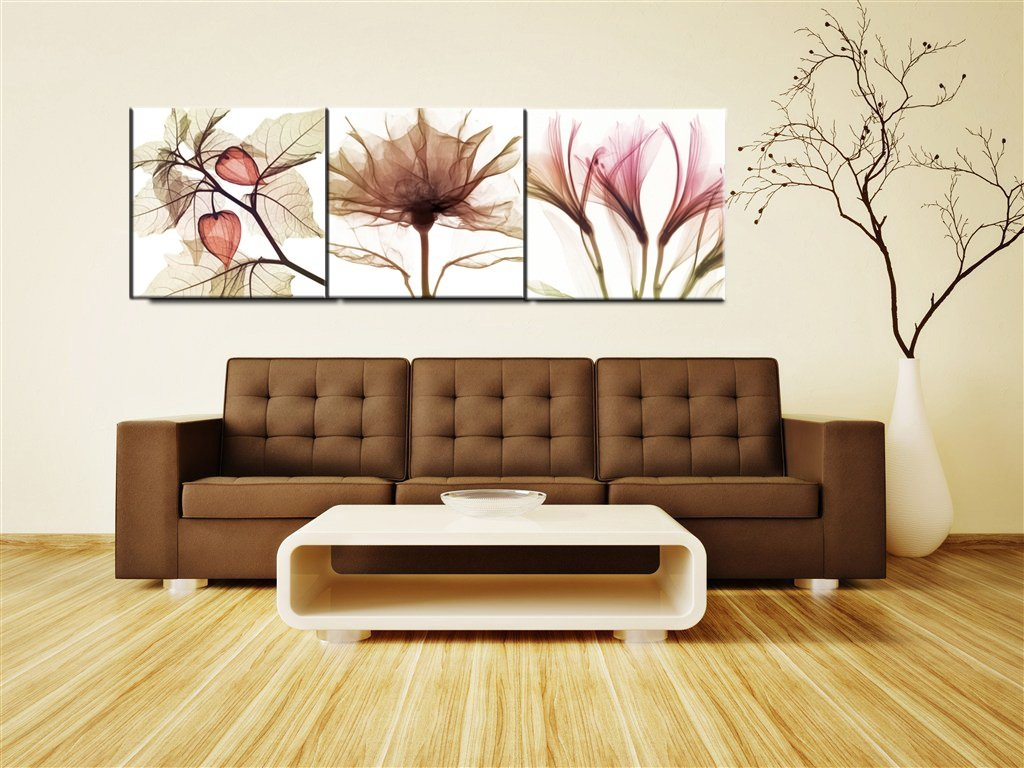 Canvas Wall Art Abstract Brown Flowers Canvas Print 36\