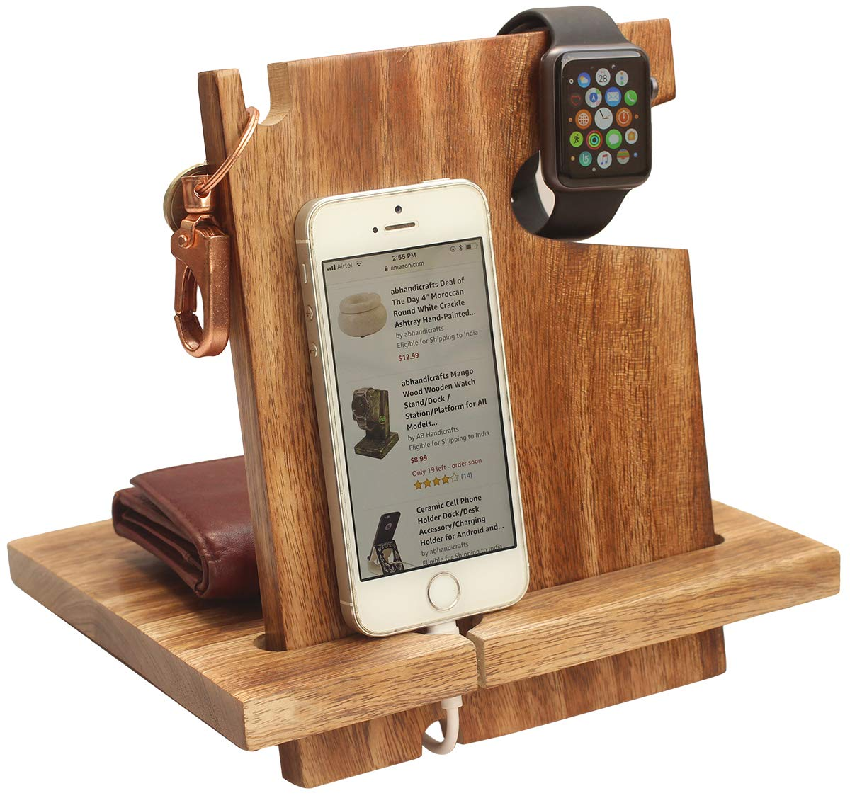 AB Handictafts - Mango Wooden Android Docking Station, 50th Anniversary Gifts for Couple , Funny Fathers Day Gifts, i-Phone 6s plus, 6s, 6 plus, 6, 5, 5s by abhandicrafts