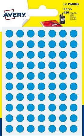 Avery España PSA08B - Pack de 490 gomets, diámetro 8 mm, color azul: Amazon.es: Oficina y papelería