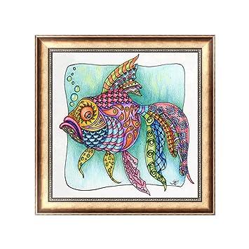 9ddce6c2e fogun 5d diy Diamond pintura oro peces de punto de cruz bordado Craft  Decoración del hogar arte  Amazon.es  Hogar