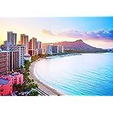 絵画風 壁紙ポスター (はがせるシール式) ハワイ 夕陽のワイキキビーチ サンセットビーチ オアフ島 リゾート 海 キャラクロ HWI-021A1 (A1版 830mm×585mm) 建築用壁紙+耐候性塗料 …