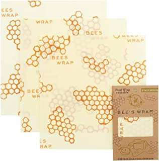 product image for Bee's Wrap – Set of 3 Food Wraps – Certified B Corporation – No Synthetic Wax or Chemicals – Holds for Up to a Year – Sustainable and Reusable Beeswax Food Wraps– Made in USA – Medium (25 x 28 cm)