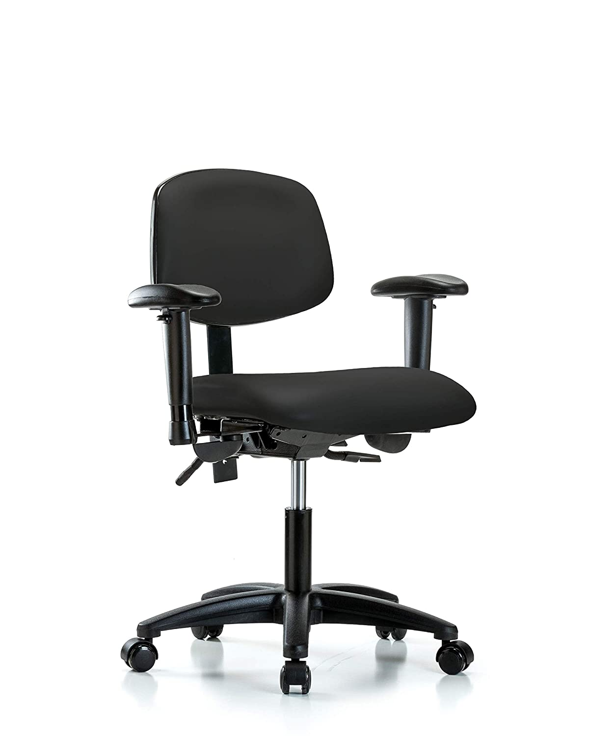 Vinyl Arms Casters Black LabTech Seating LT44223 Desk Height Chair Nylon Base