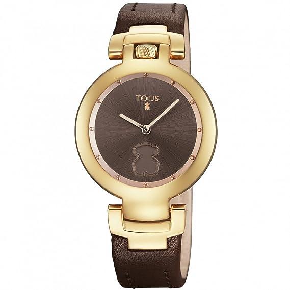 Reloj Tous Crown de acero IP rosado con correa de piel marrón 700350270: Amazon.es: Relojes