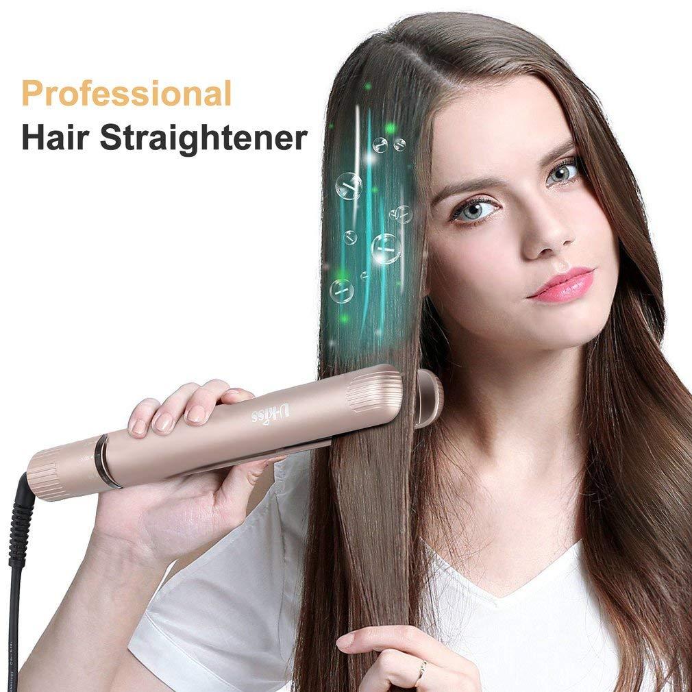 U-Kiss Lisseur Cheveux Professionnel avec Plaques en Céramique, Température Réglable Rotative Max 450℉ - Doré