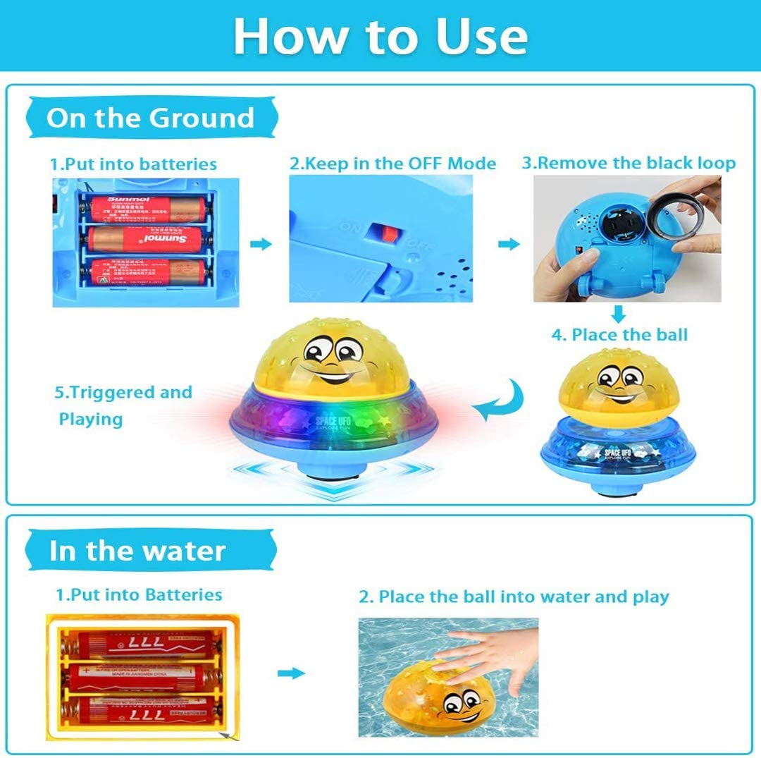 batteries not included 2 in 1 Squirt Spray Water Toy /& Omni-Directions UFO Car Baby Bath toy 3 LED Lights Musical Fountain Up Float Toy Automatic Induction Sprinkler Bathtub Toys for Toddlers