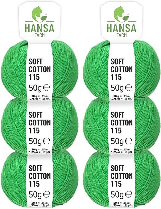 HANSA-FARM 100% algodón en 14 Colores - Set de 300 g (6 x 50 g ...