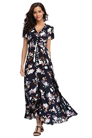 ba77b0afdc3 Ferrendo Womens Button up Split Floral Print Short Sleeve Bohemian Beach Maxi  Dress