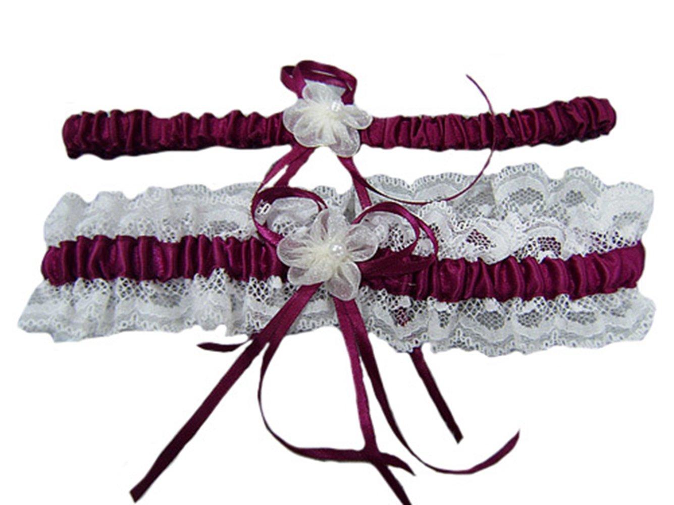 5 Color One Set Hot Women Stain Peal Lace Floral Wedding Garter Bridals Belt 2 Pieces Pink ZeHui