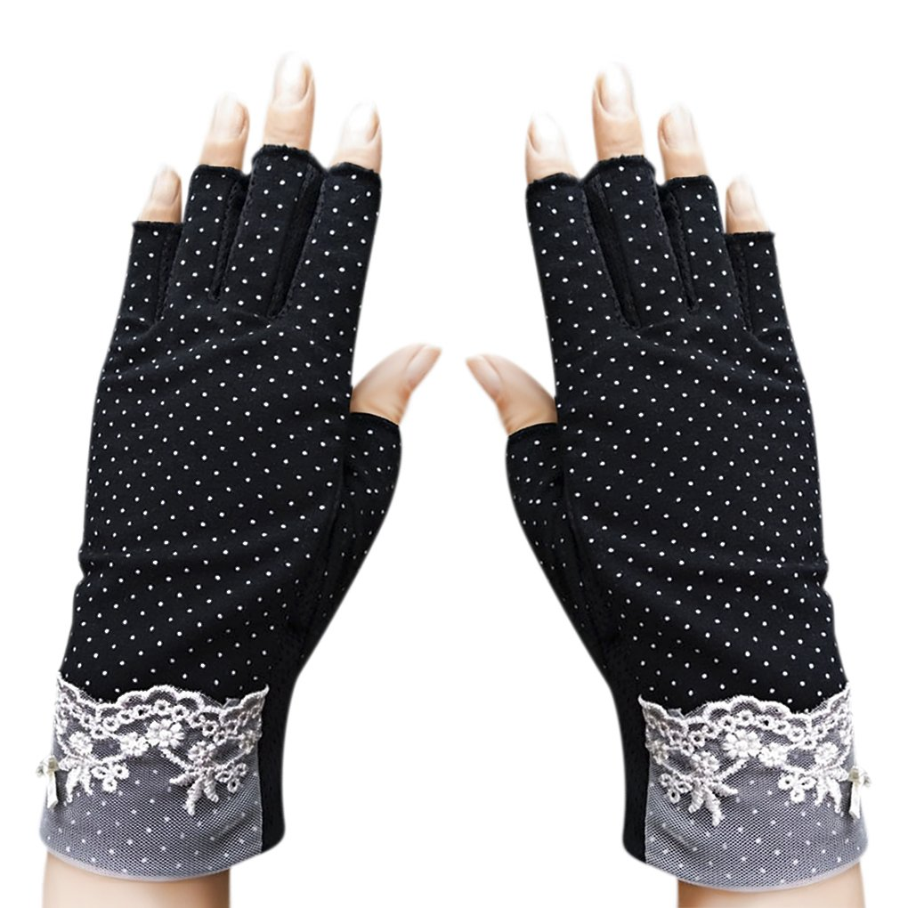 JIAHG Summer Driving Gloves Women Sunscreen Half Finger Fingerless Gloves Breathable Summer UV Protection Cycling Gloves GYM Fitness Workout Motorcycling Cotton Antislip Gloves