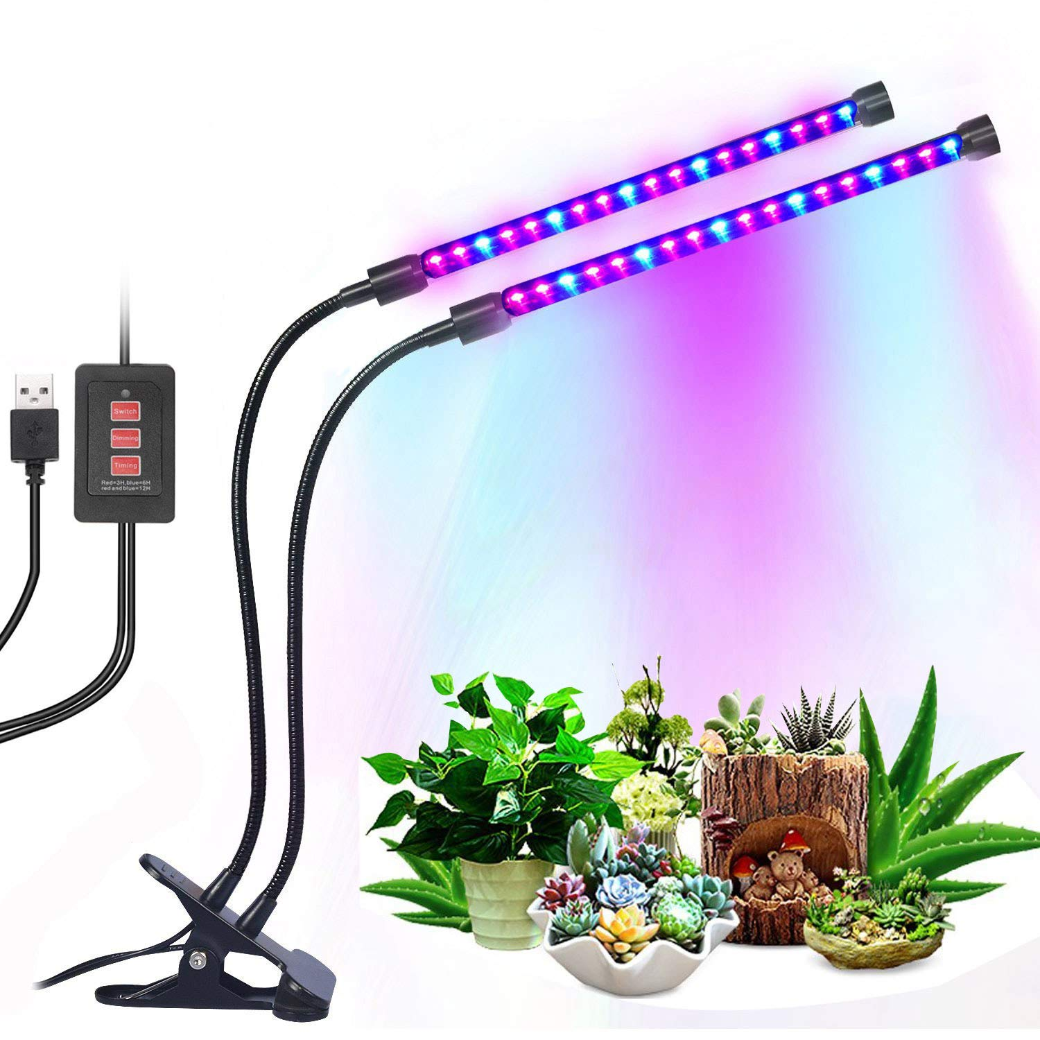 12W Dual Head Timing Grow Lamp, 36 LED Chips with Red/Blue Spectrum for Indoor Plants, Adjustable Gooseneck, 3/6/12H Timer, 5 Dimmable Levels for potted plants, flowering plants, foliage, and succulen