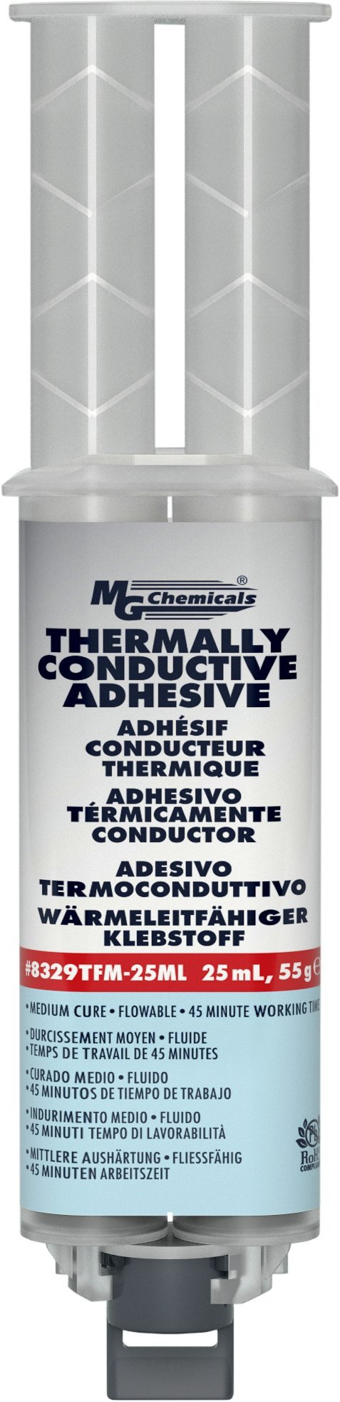 MG Chemicals 8329TFM Thermally Conductive Adhesive, Medium Cure, 25 milliliters Dual Dispenser