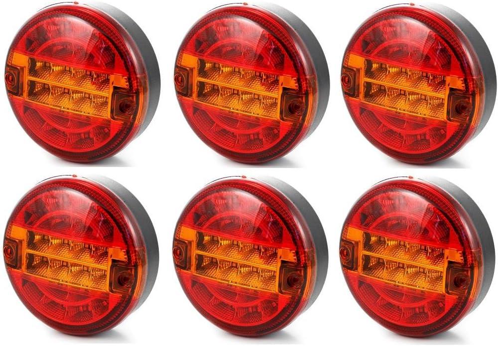 6 x 24 V Faro universal LED luz trasera, luz de gálibo, lámpara para chasis de camión, camión-remolque y tractor