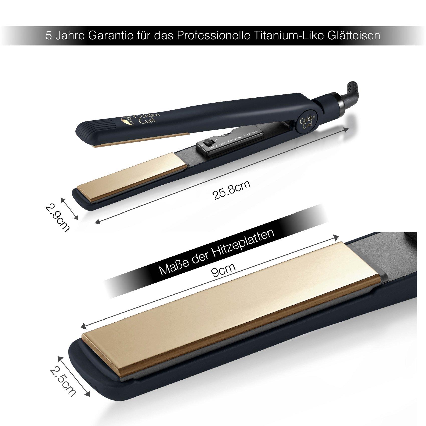 Golden Curl Glätteisen GL829 Haarglätter für alle Haartypen – unglaubliche 5 Jahre Garantie – Professioneller Hair Straightener (Gold)