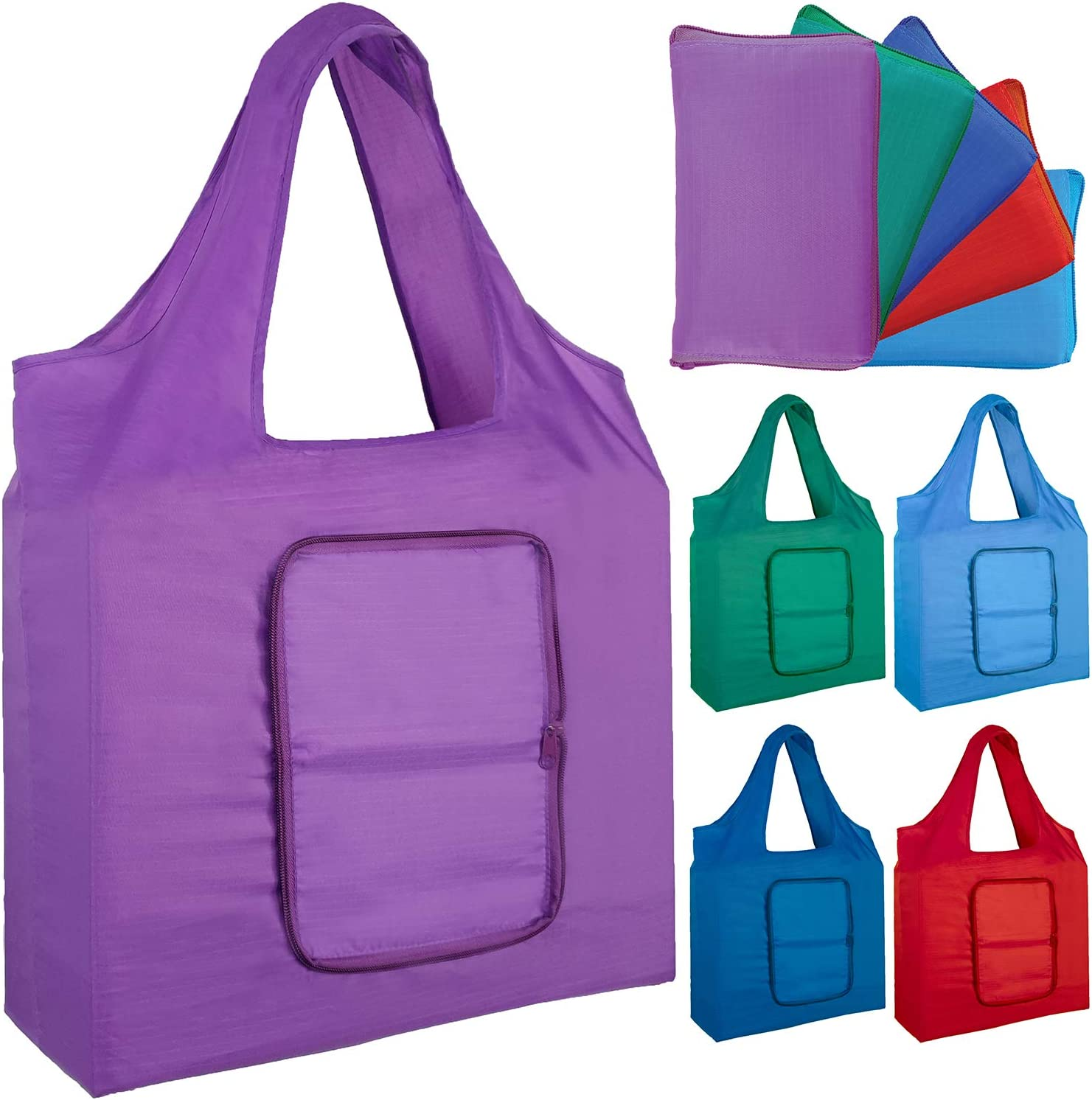 Reusable Grocery Bags for Shopping (set of 5), Foldable Into Pouch, Extra Large & Durable Heavy Duty Shopping Totes, Washable, Long Handles & Eco Friendly Reusable Shopping Bags