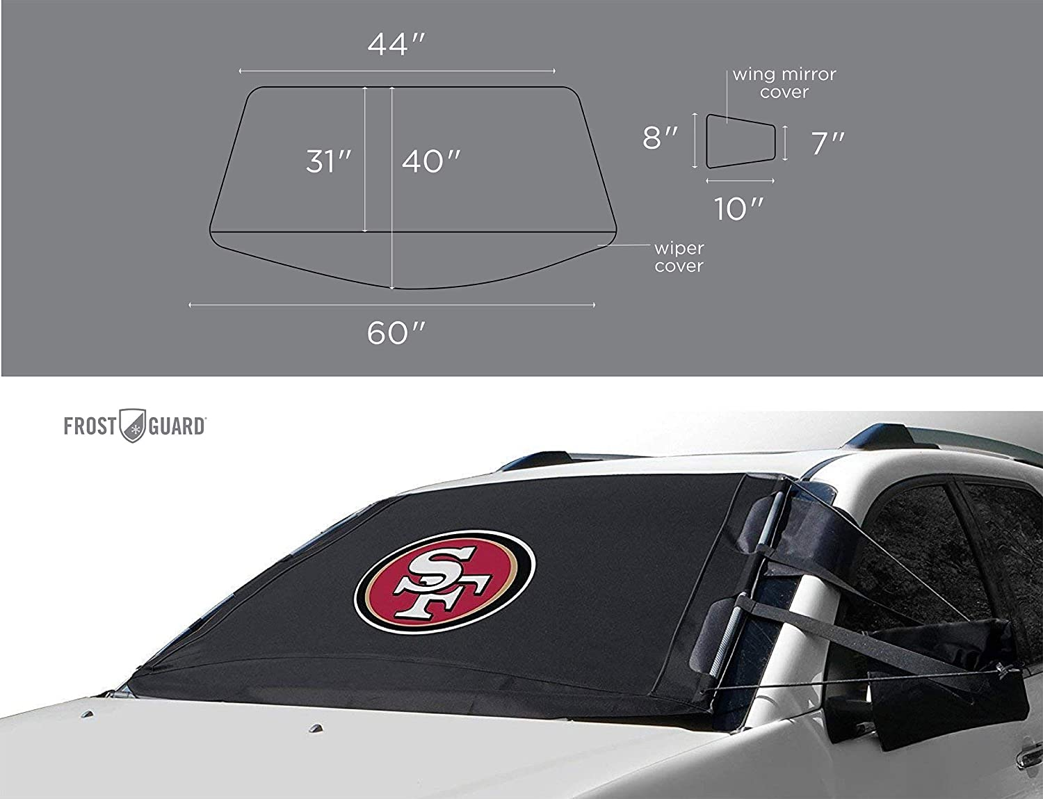 Cold Weather Protection for Your Vehicle Frost and Ice FrostGuard NFL Premium Winter Windshield Cover for Snow New Orleans Saints Standard Size