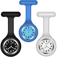 H HOME-MART 3 Pack Nurse Watch Brooch with 3 Colours, Silicone with Pin/Clip, Glow in Dark, Infection Control Design…
