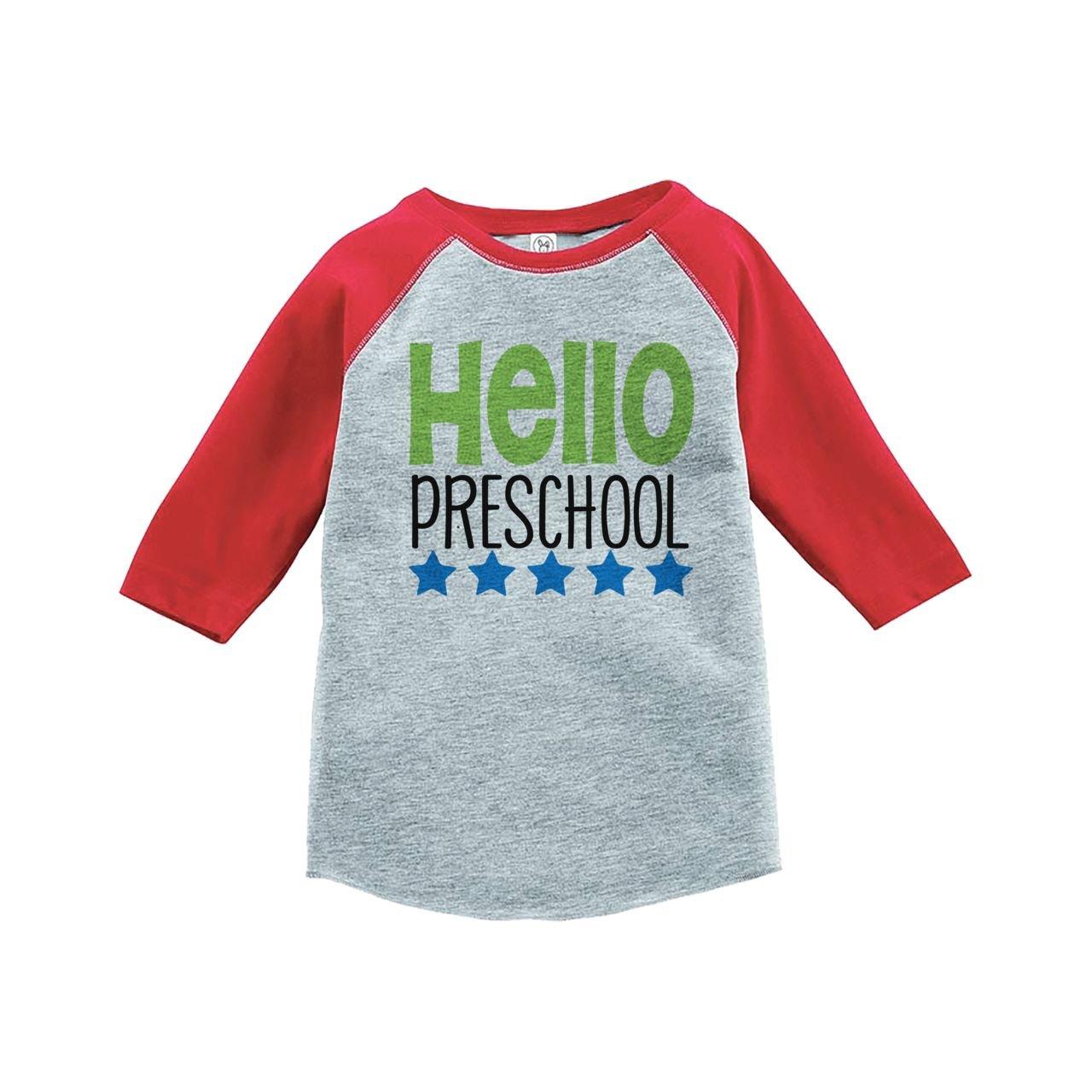 Custom Party Shop Kids Hello Preschool School Red Baseball Tee