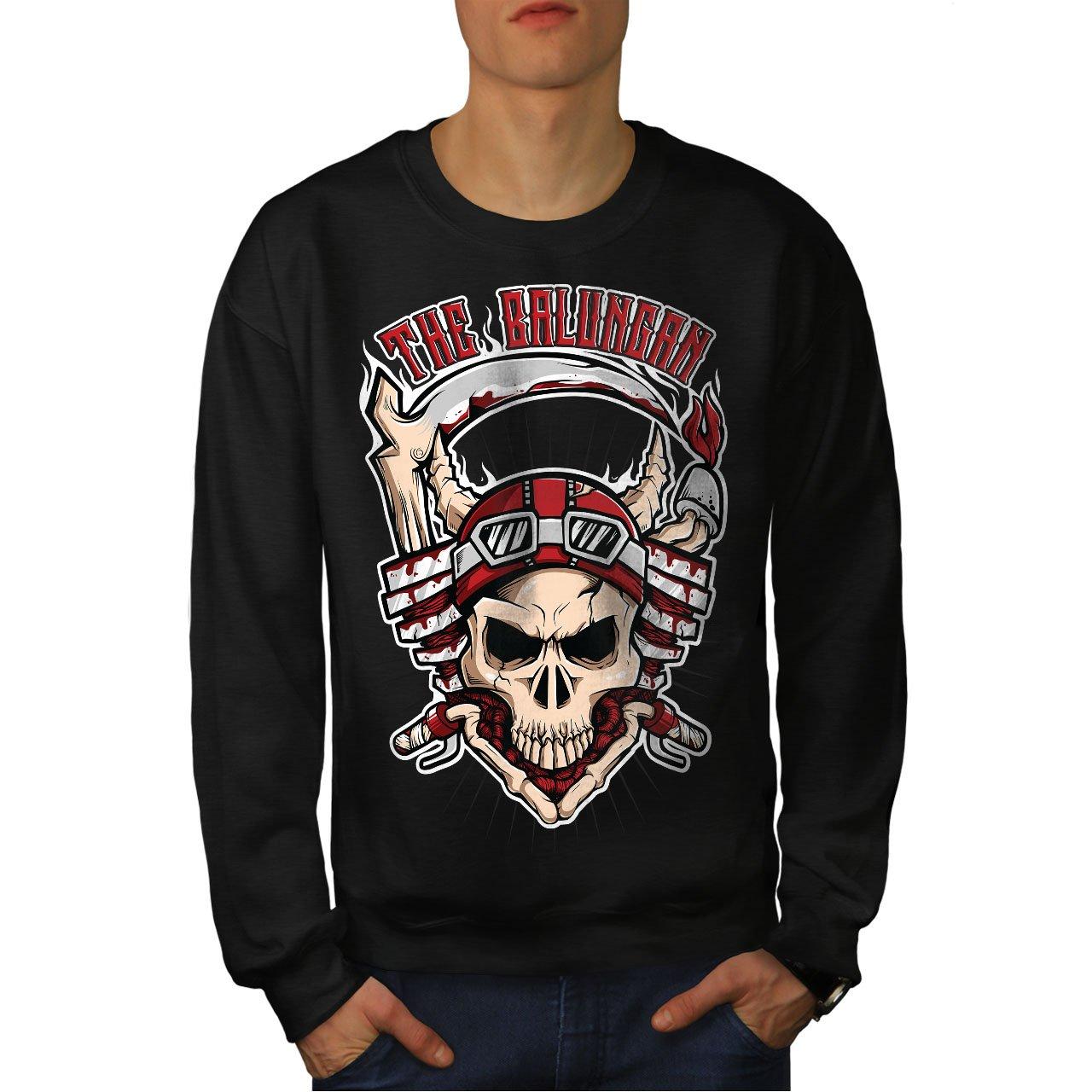 wellcoda Skull Head Mens Sweatshirt Bike Racing Casual Jumper