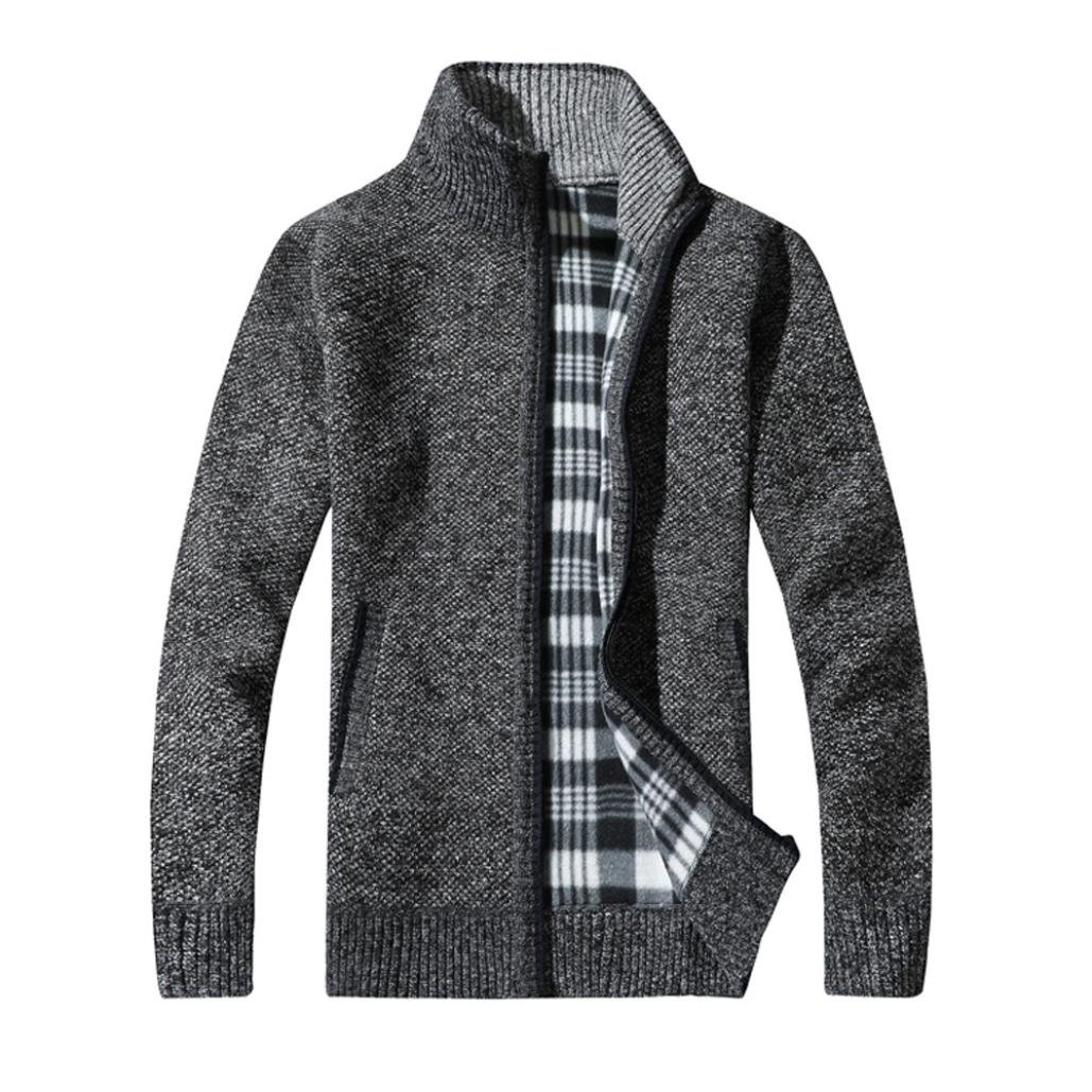 WM&MW New ! Men Cardigan Stand Neck Warm Winter Thick Zipper Sweater Coat Jacket Plaid Knitwear (Gray, Asian:M) by WM&MW