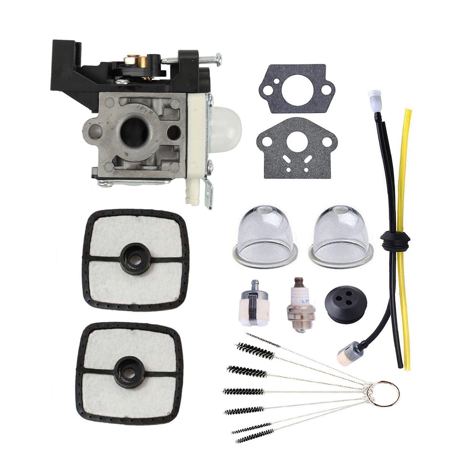 Podoy RB-K93 Carburetor for ZAMA Parts Trimmer SRM225 Tune Up Kit Maintenance with Fuel Line Kit Primer Bulb Brushes Tool for ECHO SRM225i SRM225U SRM225SB GT225 GT225i GT225L