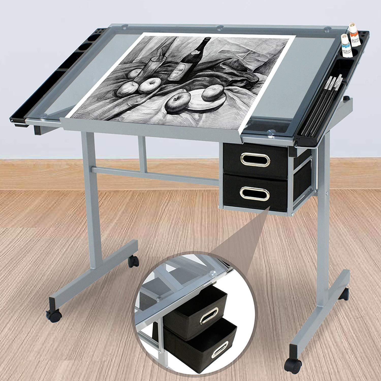 HomGarden Adjustable Drafting Drawing Table Desk Tempered Rolling Glass Top Art Craft Station Desk w/2 Slide Drawers and Castors by HomGarden (Image #9)