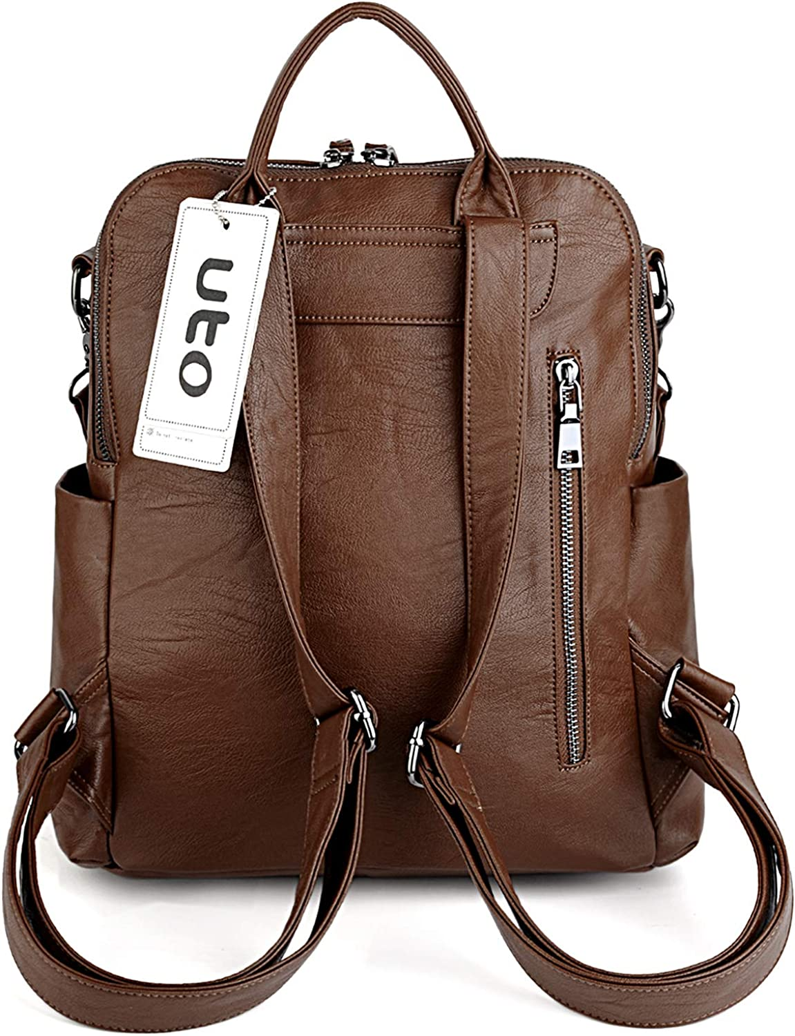 UTO Women Backpack Purse 3 ways PU Washed Leather Ladies Rucksack Shoulder Bag