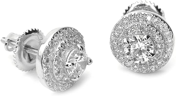 18K White Gold Plated ICED OUT Simulated Diamond Round Stud Micro pave Earrings