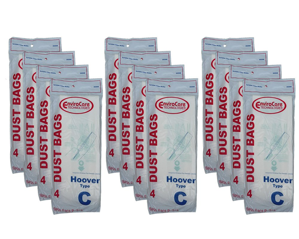48 Hoover Type C Vacuum Bags for Convertible Upright, Bottom Fill Convertible, Lightweight, O/S Vacuum Cleaners, 43651-050, 43651050, 4010003C, 4010077C, 1340, 1350, 1351, 13560, 1370, 1372, 13290, 1391, 2552, 2552B, 2650, 2651