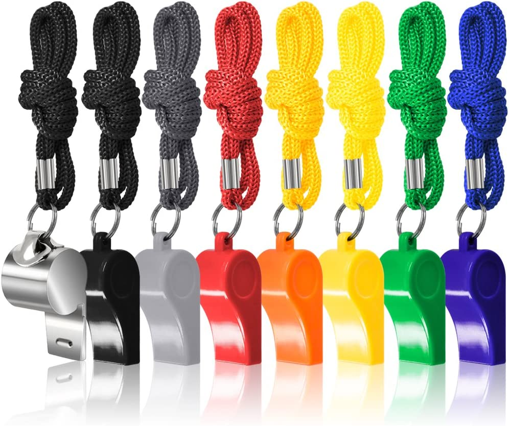 FineGood 8 Paquetes Entrenadores Arbitro Silbatos con Cordones, 7 Colorido Plástico y 1 Acero Inoxidable Metal Silbatos para Supervivencia Emergencia Salvavidas Deportes Futbol Entrenamiento