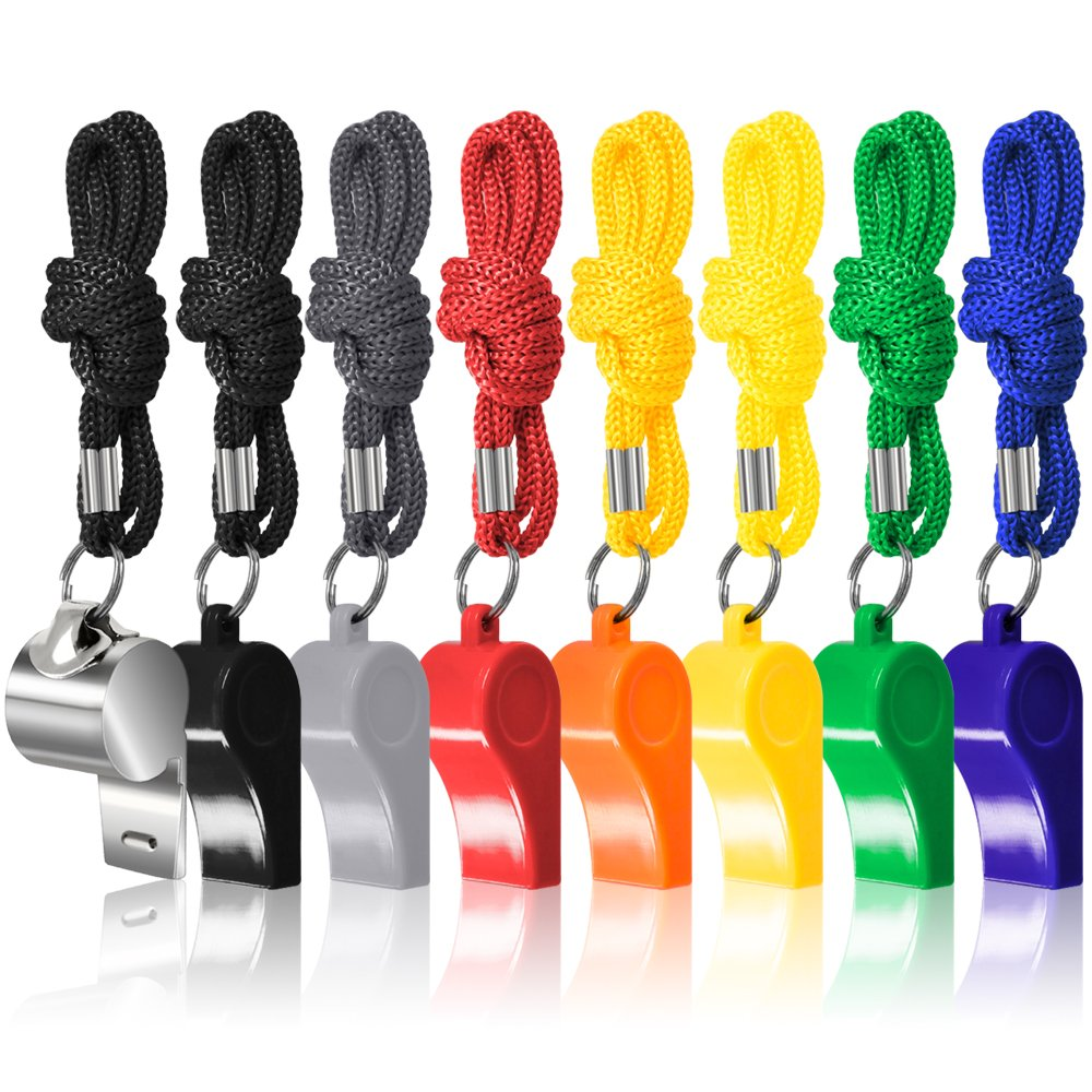 8 Packs Coaches Referee Whistles with Lanyards, FineGood 7 Colorful Plastic and 1 Stainless Steel Metal Whistles for Football Sports Lifeguards Survival Emergency Training - Multi-Color FG-plastic_whistle_8