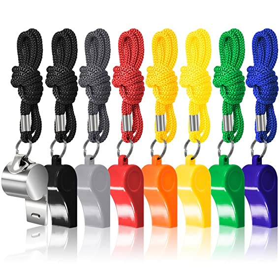 Amazon.com : FineGood 8 Packs Coaches Referee Whistles With Lanyards, 7  Colorful Plastic And 1 Stainless Steel Metal Whistles For Football Sports  Lifeguards ...