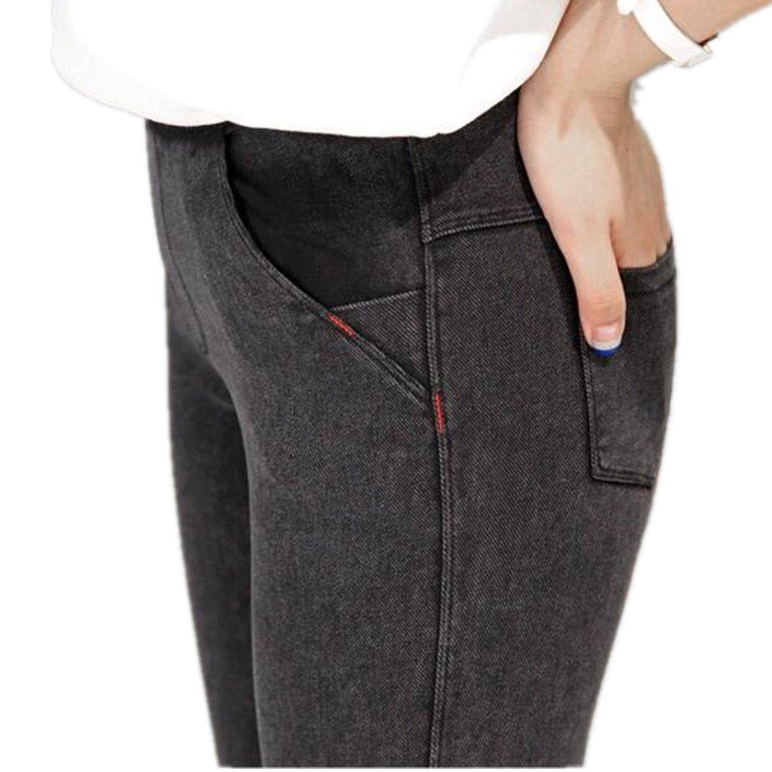 ForeMode Women Skinny Denim Leggings Elastics waist and pockets tight strech jean