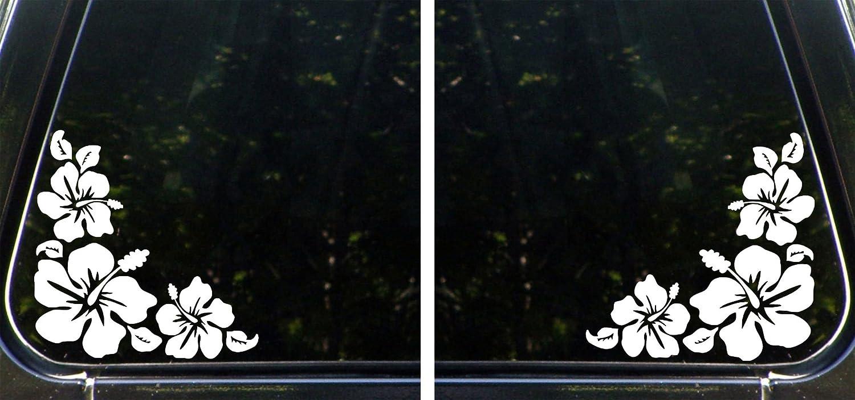 Hibiscus Corner Design 1 Right White Self Adhesive Vinyl - Colour Variations Available 14cm W x 14cm H