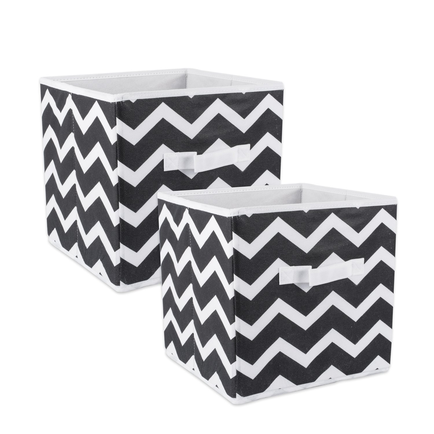 DII Fabric Storage Bins for Nursery, Offices, Home Organization, Containers are Made to Fit Standard Cube Organizers (11x11x11) Chevron Black - Set of 2