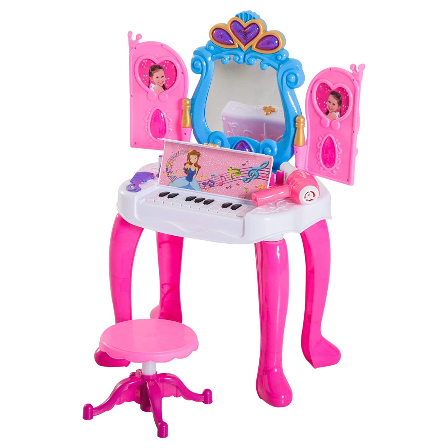 HOMCOM Kids Dressing Table Stool Set Makeup Vanity Mirror Piano Play Music with Remote Control Ideal for Girls Over 3 Years Sold by MHSTAR