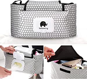Baby Stroller Organiser Hanging Bag, Buggy Organizer Diaper Bag Bottle Cup Holder Pram Storage Organizer, Spacious Space for Bottles Diapers Clothing Toys Wallets Accessories, Universal Fit.