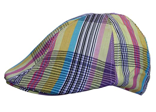 5b41bfc4355 UD Accessories Mens Flat Cap Hat Country Check Striped Print in  Multicoloured Yellow  Amazon.co.uk  Clothing