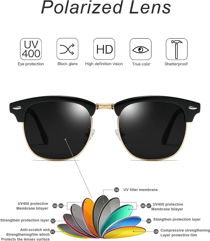Mens Sunglasses Polarised Half Frame Sun Shades Classicl Semi Rimless Cat.3 Sun Glasses for Women UV400 Protection with Case