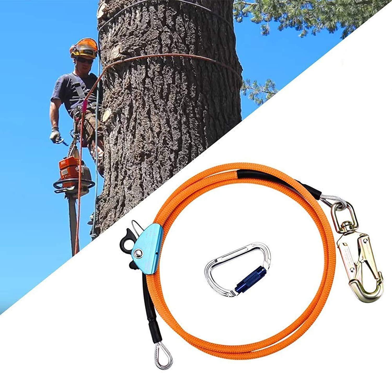 S SMAUTOP Cuerda de seguridad al aire libre, con ajustador de mosquetón de triple bloqueo,estiramiento bajo para protección contra caídas, arbolista, ...