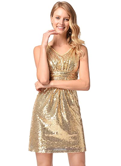676be0ebd5 Ruiyige Women s Short Sleeve O-Neck Fishtail Bright Evening Prom Sequins  Dress at Amazon Women s Clothing store