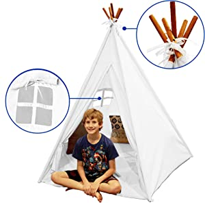 EasyGoProducts EGP-TeePee-003 Indoor Tee Pee Tent – Play Teepee Tent for Kids with Five Wood Poles & Carry Bag, White