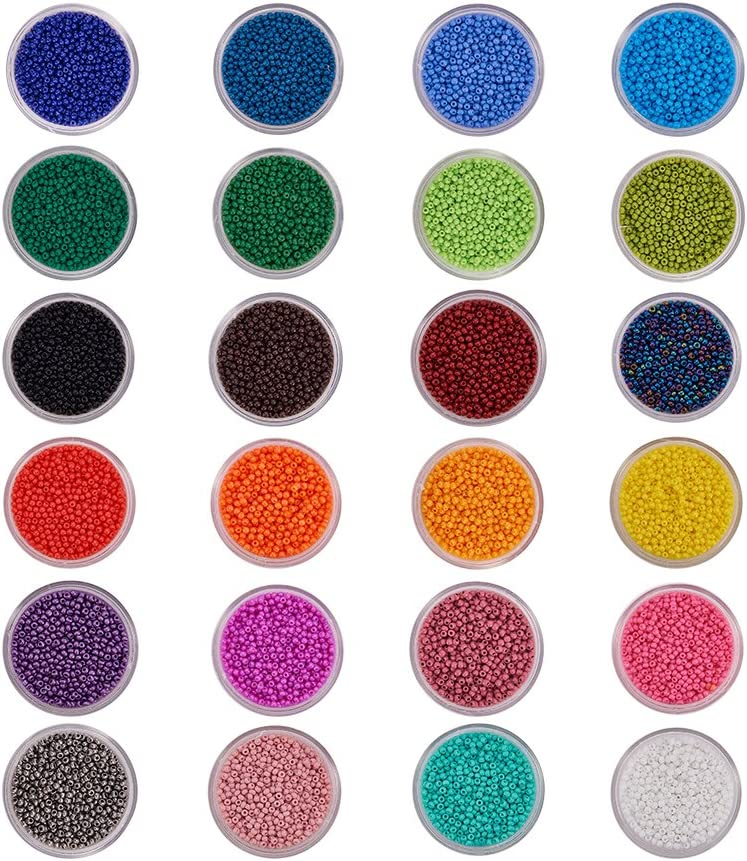 PandaHall Elite Cuentas de Colores Perlas de Vidrio Perlas de Mini Cuentas para Hacer Joyas de Bricolaje Collares Pulseras Bijouterie Regalo para niños