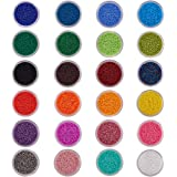 BENECREAT About 25000 Pcs of 1 Pack 24 Color 11/0 Round Glass Seed Beads Sets Size 2x1.5mm with Individual Boxes Assortment