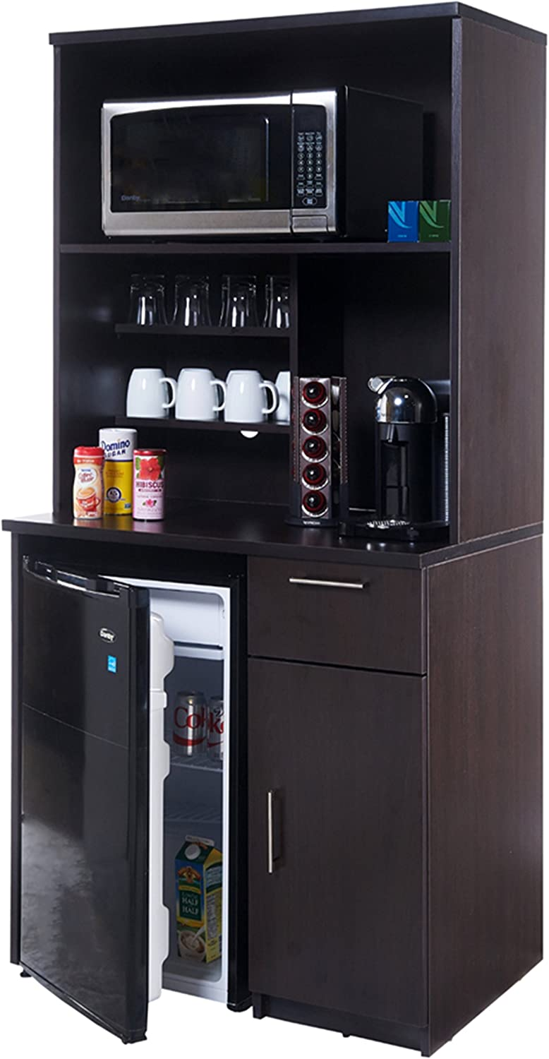 Coffee Break Lunch Room Furniture Fully Assembled Ready to Use 2pc Group BREAKTIME Model 3198 - Espresso Color.Instantly Create Your New Coffee Break Lunch Room!!! (Includes Furniture Cabinets Only)
