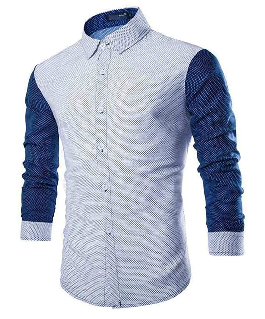 Etecredpow Mens Slim Fit Color Block Long-Sleeve Vogue Button Up Shirts